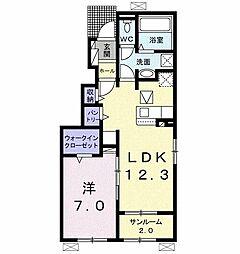 JR高山本線 美濃太田駅 徒歩22分の賃貸アパート 1階1LDKの間取り
