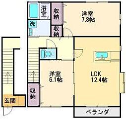 JR川越線 南古谷駅 徒歩12分の賃貸アパート 2階2LDKの間取り