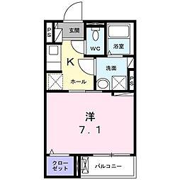 東急大井町線 大岡山駅 徒歩7分の賃貸アパート 1階1Kの間取り