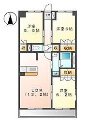 JR常磐線 大津港駅 徒歩14分の賃貸マンション 2階3LDKの間取り