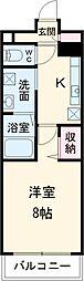 東武東上線 川越駅 徒歩12分の賃貸マンション 3階1Kの間取り