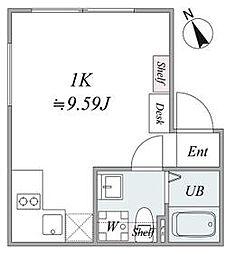 JR山手線 恵比寿駅 徒歩3分の賃貸マンション 1階1Kの間取り