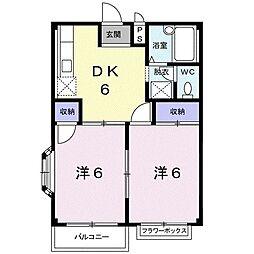 JR高崎線 北本駅 徒歩24分の賃貸アパート 2階2DKの間取り