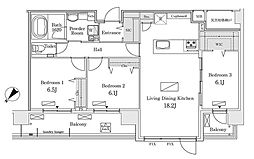 東京メトロ有楽町線 豊洲駅 徒歩12分の賃貸マンション 10階3LDKの間取り