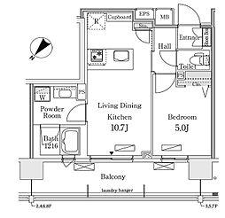 東京メトロ有楽町線 豊洲駅 徒歩12分の賃貸マンション 3階1LDKの間取り