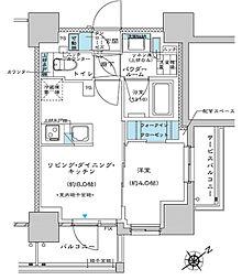 都営三田線 板橋区役所前駅 徒歩5分の賃貸マンション 9階1LDKの間取り