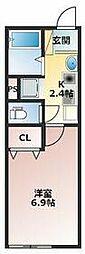 Villa Egret(ヴィライグレット) 1階1Kの間取り