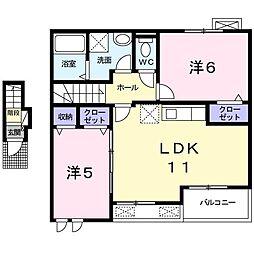 JR上越線 沼田駅 3.6kmの賃貸アパート 2階2LDKの間取り