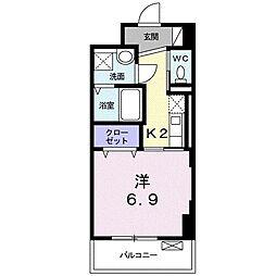 JR東海道本線 浜松駅 徒歩6分の賃貸マンション 2階1Kの間取り