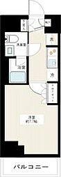 東急多摩川線 矢口渡駅 徒歩3分の賃貸マンション 8階1Kの間取り
