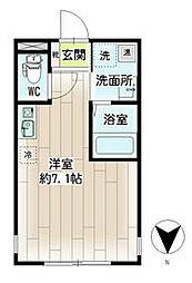横浜市営地下鉄ブルーライン 三ツ沢下町駅 徒歩1分の賃貸マンション 4階ワンルームの間取り