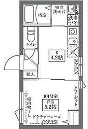 東京メトロ千代田線 西日暮里駅 徒歩6分の賃貸マンション 1階1Kの間取り