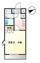 香川県高松市上林町の賃貸アパート 2階1Kの間取り