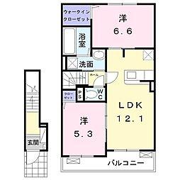 東武桐生線 新桐生駅 徒歩15分の賃貸アパート 2階2LDKの間取り