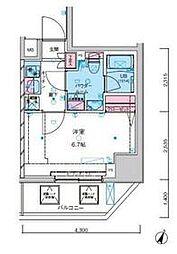 東京メトロ千代田線 綾瀬駅 徒歩12分の賃貸マンション 11階1Kの間取り
