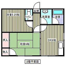 JR中央線 立川駅 バス20分 八小前下車 徒歩3分の賃貸アパート 2階2DKの間取り