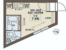 JR山手線 田端駅 徒歩7分の賃貸マンション 3階ワンルームの間取り