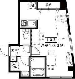 東京メトロ日比谷線 三ノ輪駅 徒歩8分の賃貸マンション 1階1Kの間取り