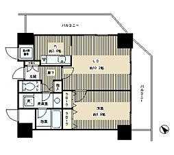 JR山手線 目黒駅 徒歩8分の賃貸マンション 10階1LDKの間取り
