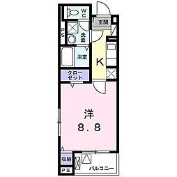 JR東海道・山陽本線 桂川駅 徒歩12分の賃貸マンション 5階1Kの間取り