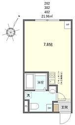 JR山手線 日暮里駅 徒歩10分の賃貸マンション 2階ワンルームの間取り