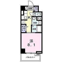 京急本線 鮫洲駅 徒歩4分の賃貸マンション 7階1Kの間取り