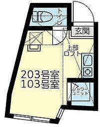 相鉄本線 上星川駅 徒歩7分の賃貸アパート 1階ワンルームの間取り
