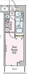 東武伊勢崎線 梅島駅 徒歩5分の賃貸マンション 2階1Kの間取り