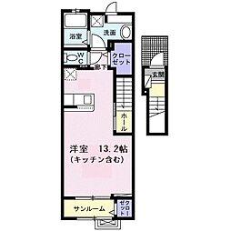 JR高崎線 宮原駅 徒歩16分の賃貸アパート 2階1Kの間取り