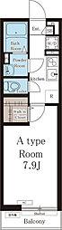 西武池袋線 ひばりヶ丘駅 徒歩13分の賃貸アパート 1階1Kの間取り