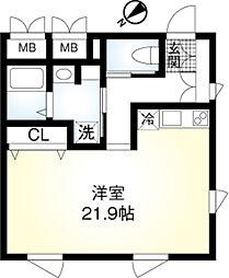 東京メトロ千代田線 明治神宮前駅 徒歩10分の賃貸マンション 2階ワンルームの間取り
