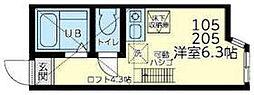 ユナイト田浦ロペス・ホルティージョ 2階ワンルームの間取り