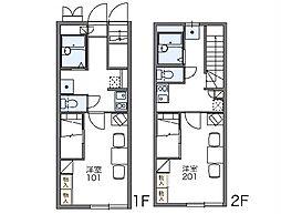 JR高崎線 本庄駅 バス5分 前原二丁目下車 徒歩9分の賃貸アパート 1階1Kの間取り