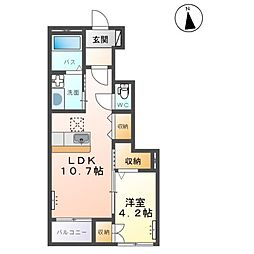 東武宇都宮線 新栃木駅 徒歩15分の賃貸アパート 1階1LDKの間取り