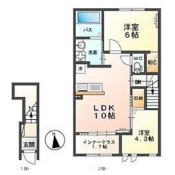 東武宇都宮線 新栃木駅 徒歩15分の賃貸アパート 2階2LDKの間取り