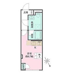 JR京浜東北・根岸線 大井町駅 徒歩6分の賃貸マンション 1階ワンルームの間取り