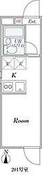 都営大江戸線 落合南長崎駅 徒歩10分の賃貸マンション 2階ワンルームの間取り
