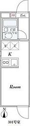 都営大江戸線 落合南長崎駅 徒歩10分の賃貸マンション 3階ワンルームの間取り