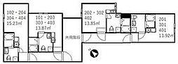 京成本線 新三河島駅 徒歩3分の賃貸アパート 1階ワンルームの間取り