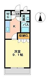 名鉄三河線 猿投駅 徒歩12分の賃貸アパート 2階1Kの間取り