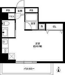 広尾ウエスト 6階ワンルームの間取り