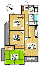ヤマジンフローラ 2階3LDKの間取り