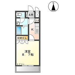 名鉄瀬戸線 旭前駅 徒歩9分の賃貸アパート 2階1Kの間取り