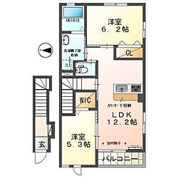 JR東海道本線 豊橋駅 徒歩18分の賃貸アパート 2階2LDKの間取り