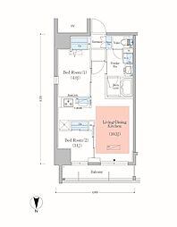 JR総武本線 錦糸町駅 徒歩8分の賃貸マンション 10階2LDKの間取り