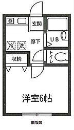 東武伊勢崎線 蒲生駅 徒歩3分の賃貸アパート 1階1Kの間取り
