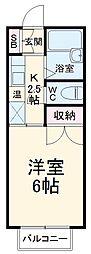 愛知高速東部丘陵線 公園西駅 徒歩30分の賃貸アパート 2階1Kの間取り