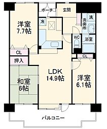 フロイデ成田 13階3LDKの間取り