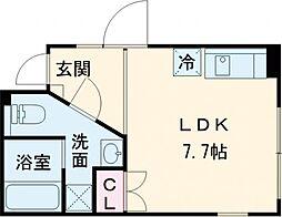 東急田園都市線 桜新町駅 徒歩9分の賃貸マンション 1階ワンルームの間取り