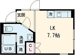 東急田園都市線 桜新町駅 徒歩9分の賃貸マンション 4階ワンルームの間取り
